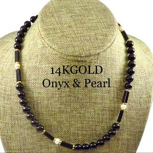14K YELLOW GOLD ONYX AND PEARL NECKLACE COLLAR
